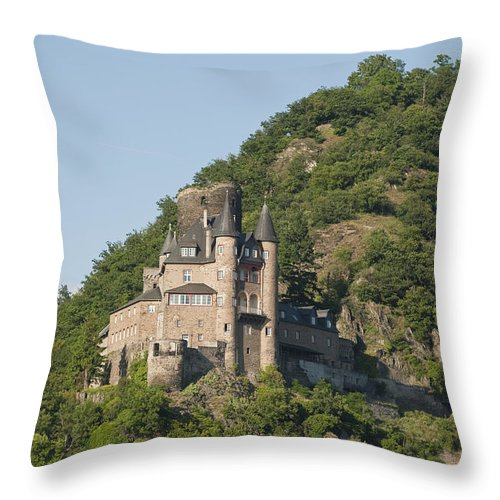Color Image Throw Pillow featuring the photograph Katz Castle On A Hillside by Greg Dale
