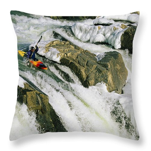 North America Throw Pillow featuring the photograph Kayaker At The Top Of A Waterfall by Skip Brown