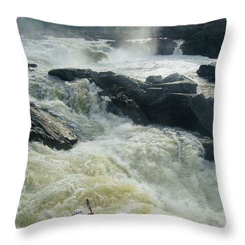 North America Throw Pillow featuring the photograph Kayaker Running Maryland Side Of Great by Skip Brown