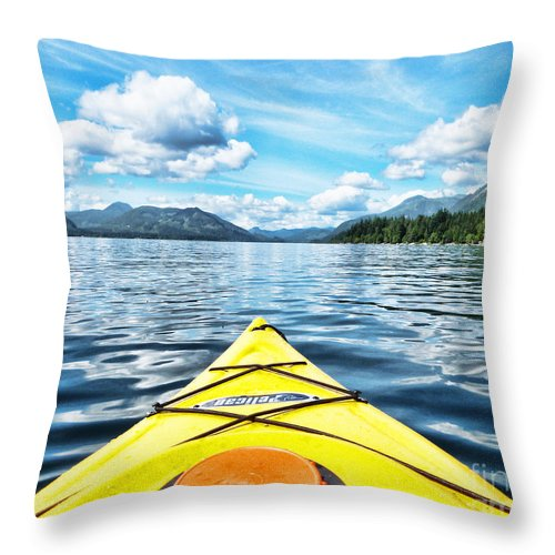 British Columbia Throw Pillow featuring the photograph Kayaking In Bc by Traci Cottingham