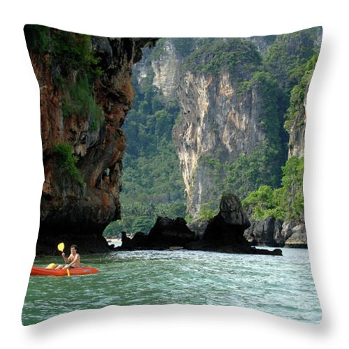 Phuket Throw Pillow featuring the photograph Kayaking In Thailand by Bob Christopher
