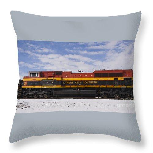 Kcs Throw Pillow featuring the photograph Kcs Locomotive by Tim Mulina