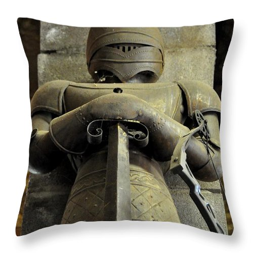 Knight Throw Pillow featuring the photograph Keeper Of The Castle by John Black
