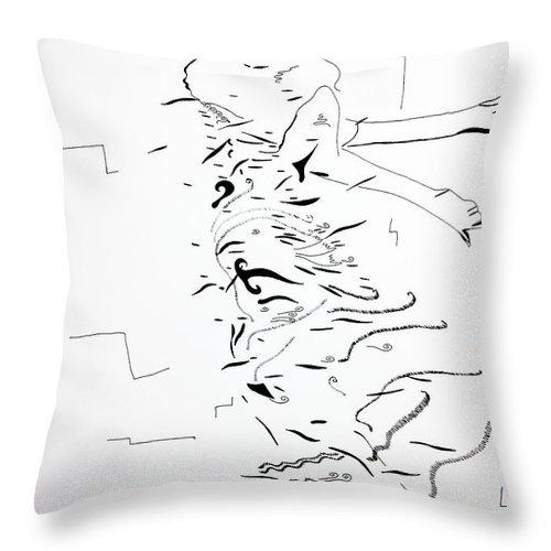 Jesus Throw Pillow featuring the painting Kiganda Dance - Uganda Dance by Gloria Ssali