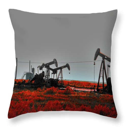 Oil Throw Pillow featuring the digital art Killing Ground by Lizi Beard-Ward