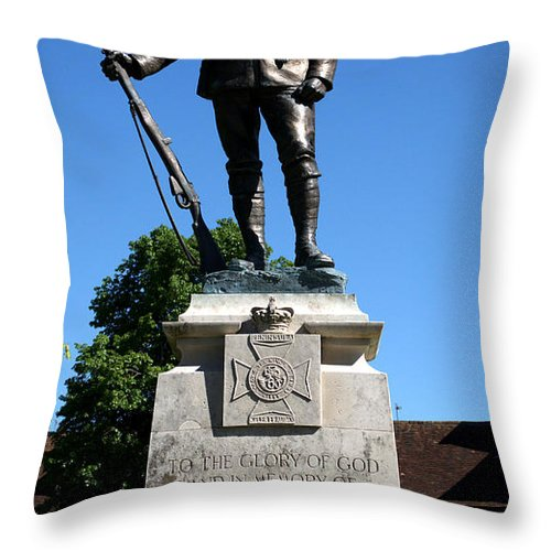 Kings Royal Rifle Corps Throw Pillow featuring the photograph Kings Royal Rifle Corps Memorial In Winchester by Chris Day