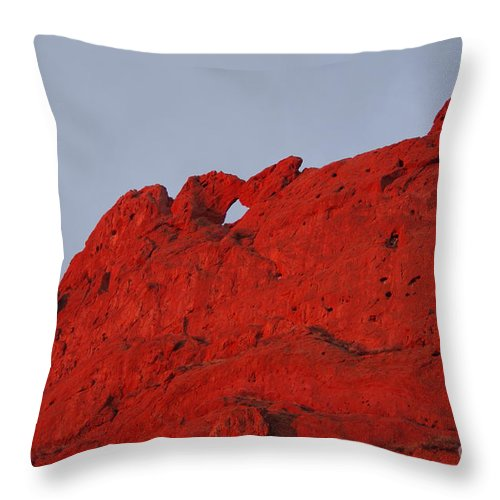 Garden Of The Gods Throw Pillow featuring the photograph Kissing Camels On Fire by Brandi Christon