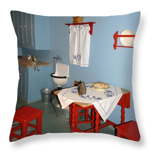 Architecture Throw Pillow featuring the photograph Kitchen In Color by Nina Fosdick