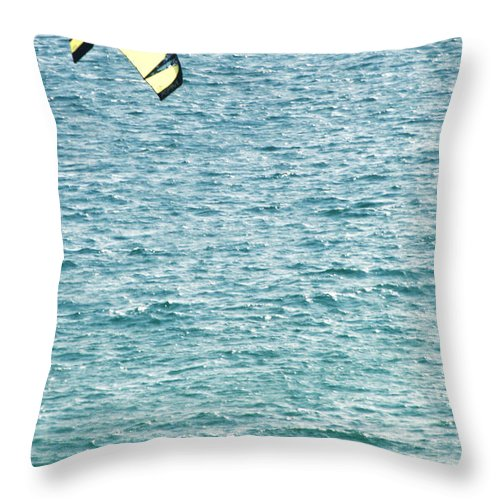 Kite Throw Pillow featuring the photograph Kite Surfer by Chris Day