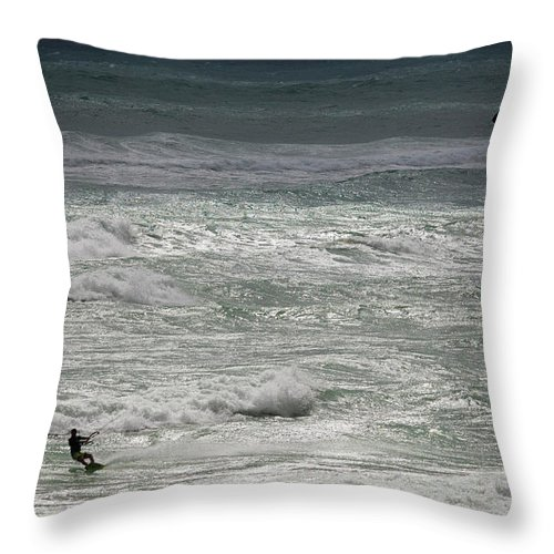 Kite Throw Pillow featuring the photograph Kiteboarding by Nick Shirghio
