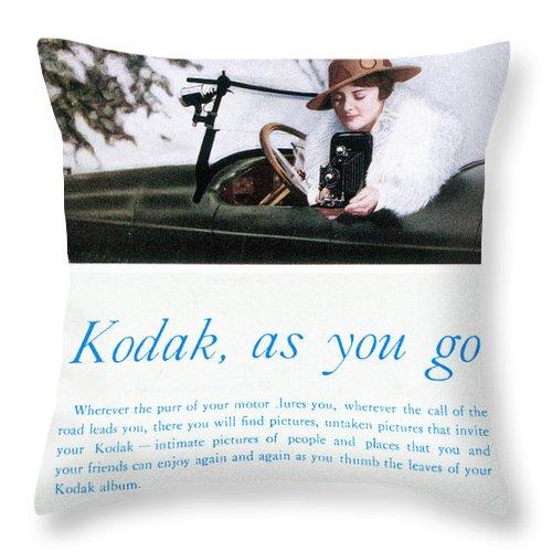1917 Throw Pillow featuring the photograph Kodak Advertisement, 1917 by Granger
