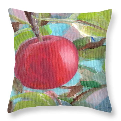 Red Throw Pillow featuring the painting Kogyoku Apple by Kazumi Whitemoon