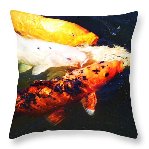 Koi Pond Throw Pillow featuring the photograph Koi by Caroline Lomeli
