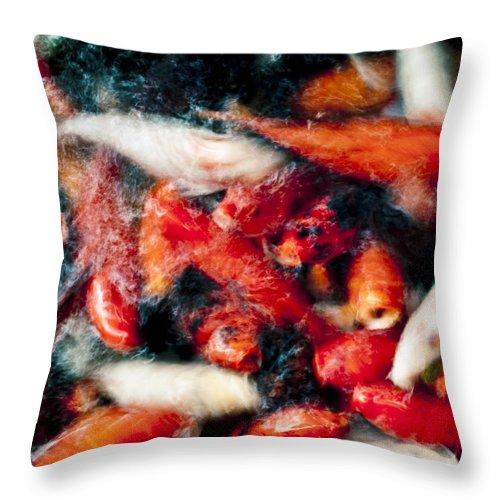 Animal Throw Pillow featuring the photograph Koi Fish Movement Vi by Joe Carini - Printscapes