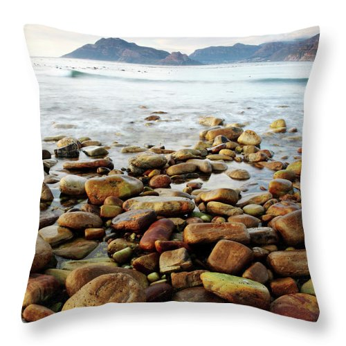 Landscape Throw Pillow featuring the photograph Kommetjie Beach by Neil Overy
