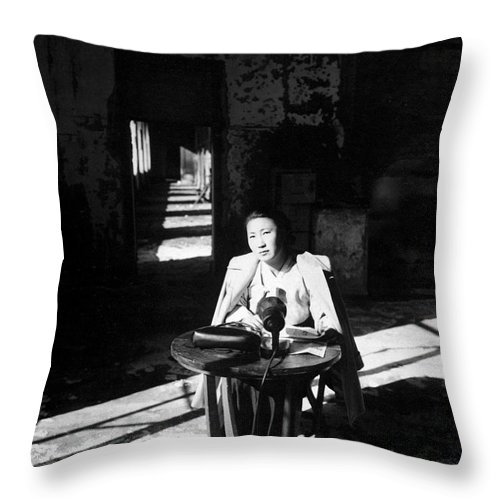 Vertical Throw Pillow featuring the photograph Korean Poetess Tells How She Escaped by Stocktrek Images