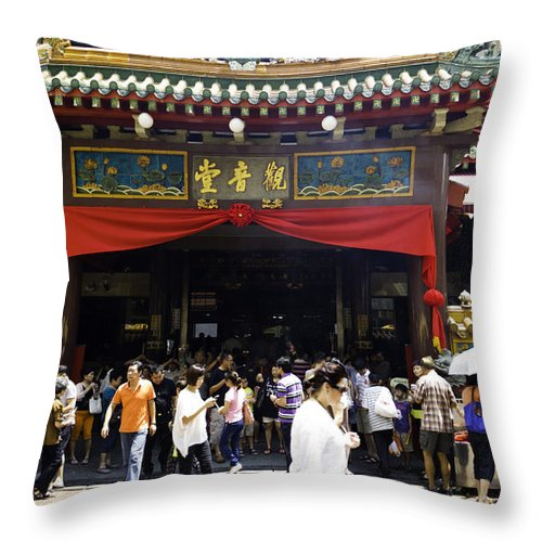 Asia Throw Pillow featuring the photograph Kwan Im Tong Hood Cho Buddhist Temple In The Bugis Area In Singa by Ashish Agarwal