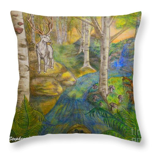 Stag Throw Pillow featuring the drawing Lady Of The White Birch by Rebecca Stephens