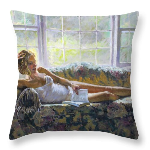 Lady Figure Throw Pillow featuring the painting Lady With A Book by Ylli Haruni