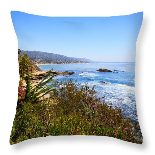 America Throw Pillow featuring the photograph Laguna Beach California Coastline by Paul Velgos