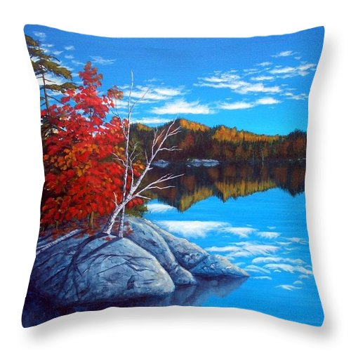 Landscape Throw Pillow featuring the painting Lake Clear by Rick Gallant