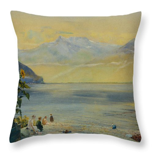 Lake Leman With The Dents Du Midi In The Distance Throw Pillow featuring the painting Lake Leman With The Dents Du Midi In The Distance by John William Inchbold