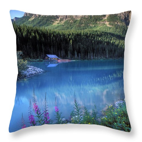 Lake Louise Throw Pillow featuring the photograph Lake Louise Banff Canada by Dave Mills