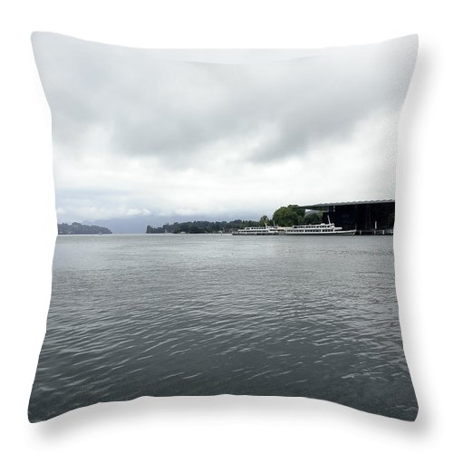 Berthed Ships Throw Pillow featuring the photograph Lake Lucerne And Cruise Ships Berthed In Front Of Kkl by Ashish Agarwal