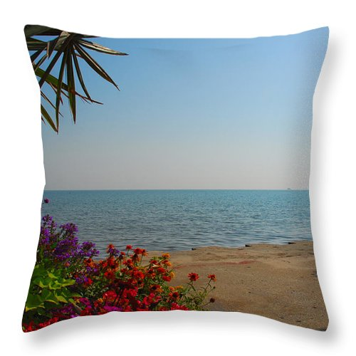 Lake Michigan Throw Pillow featuring the photograph Lake Michigan by Lynn Bauer