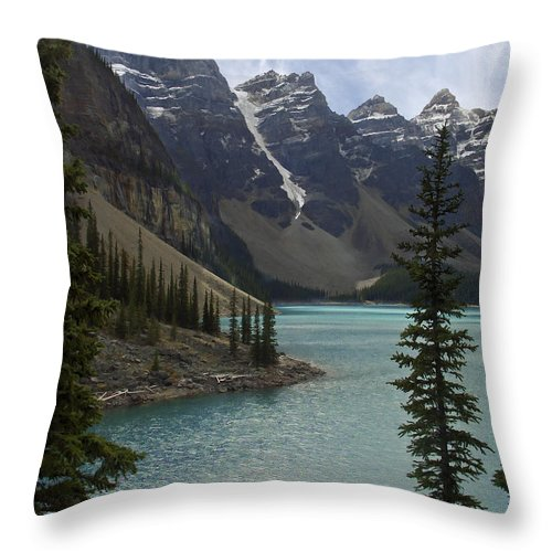 Alberta Throw Pillow featuring the photograph Lake Moraine - Banff National Park by Daniel Hagerman