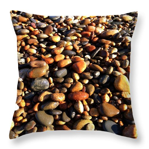 Lake Superior Throw Pillow featuring the photograph Lake Superior Stones by Michelle Calkins