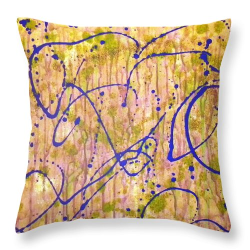 Throw Pillow featuring the painting Lamb Round Up by Etta Harris