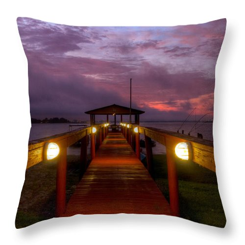 Clouds Throw Pillow featuring the photograph Landing Lights by Debra and Dave Vanderlaan