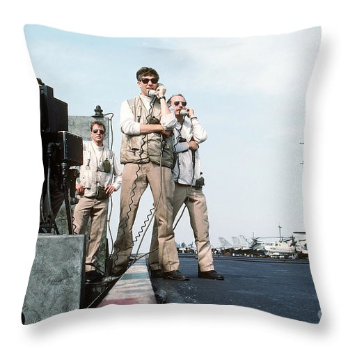 Horizontal Throw Pillow featuring the photograph Landing Signal Officers Guide An F-14 by Stocktrek Images