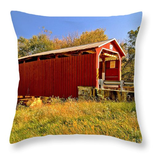 American Throw Pillow featuring the photograph Landis Mill Covered Bridge by Nick Zelinsky