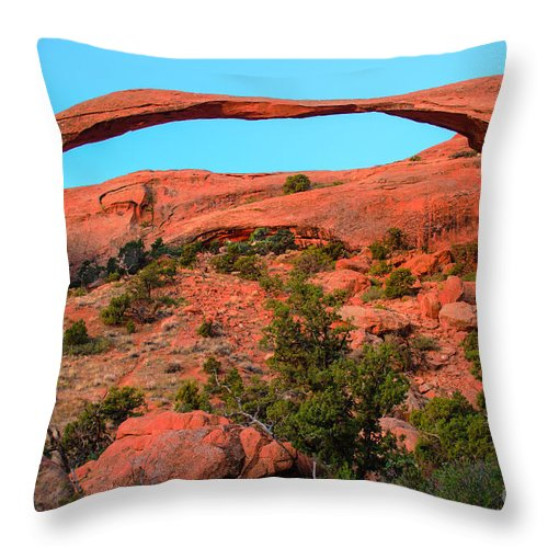 Arches Throw Pillow featuring the photograph Landscape Arch by Robert Bales