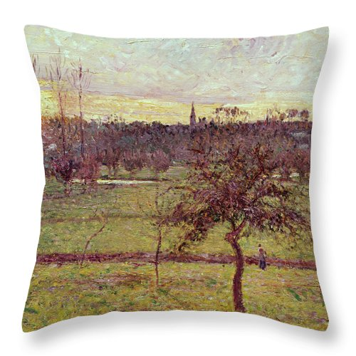 Landscapes Throw Pillow featuring the painting Landscape At Eragny by Camille Pissarro