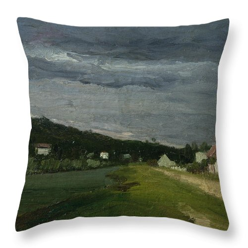 Landscape Throw Pillow featuring the painting Landscape With Stormy Sky by Camille Pissarro