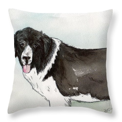 Newfoundland Dog Throw Pillow featuring the painting Landseer Newfoundland by Nancy Patterson