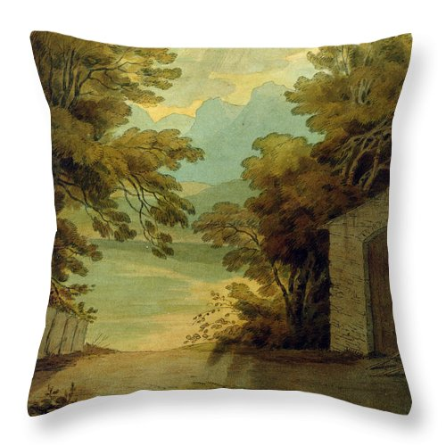 Langdale Pikes Throw Pillow featuring the painting Langdale Pikes by John White Abbott
