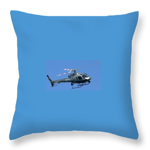 Lapd Throw Pillow featuring the photograph Lapd Aerial Chopper by Jeff Lowe
