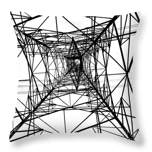 High Throw Pillow featuring the photograph Large Electricity Powermast by Yali Shi