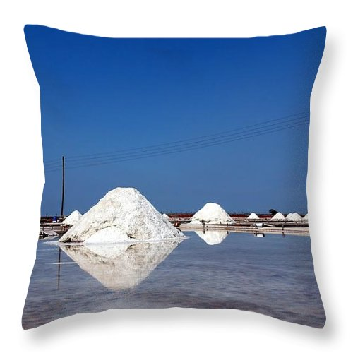 Salt Throw Pillow featuring the photograph Large Piles Of Sea Salt by Yali Shi