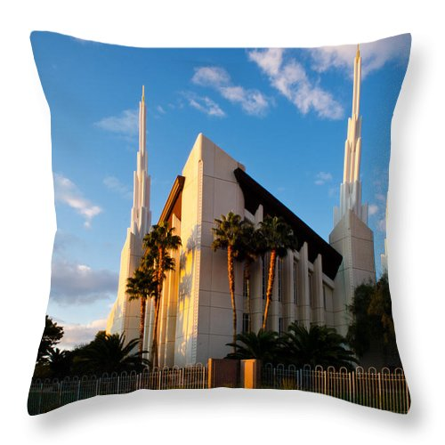 Las Vegas Temple Throw Pillow featuring the photograph Las Vegas Palms by La Rae Roberts