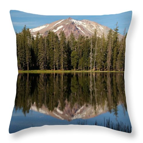 Summit Lake Throw Pillow featuring the photograph Lassen Peak Reflections by Adam Jewell