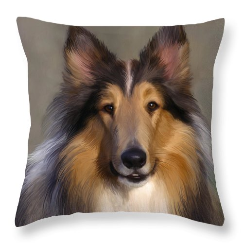 Dog Throw Pillow featuring the painting Lassie Come Home by Snake Jagger