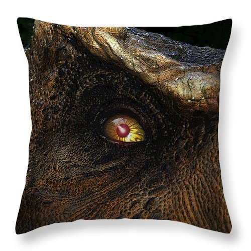 Dinosaur Throw Pillow featuring the painting Last Day Of The Jurassic by David Lee Thompson