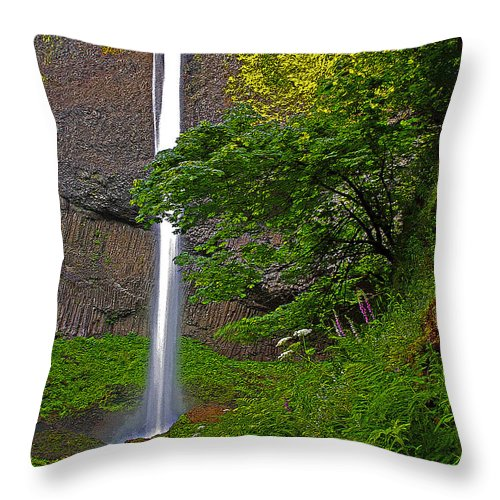 Oregon Throw Pillow featuring the photograph Latourell Falls Oregon - Posterized by Rich Walter