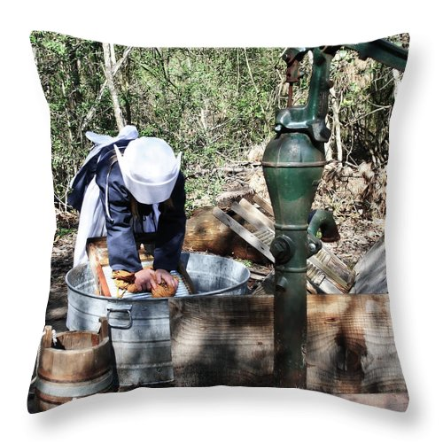 Kid; Kids; Laundry; Work; Washing; Wash; Heritage; 1800; People Throw Pillow featuring the photograph Laundry Time by Diego Re