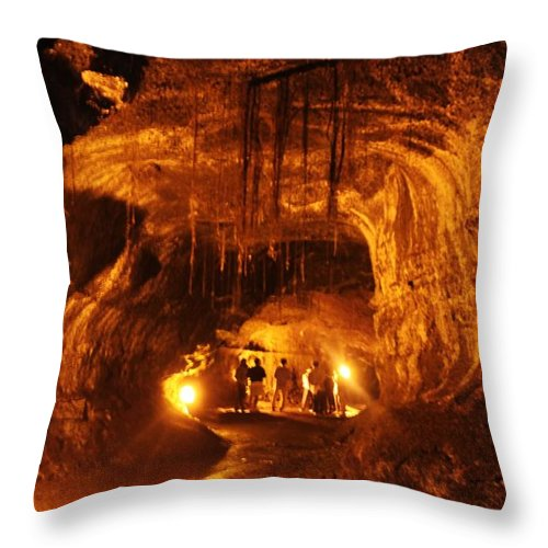 Lava Tube Throw Pillow featuring the photograph Lava Tube by Caroline Lomeli